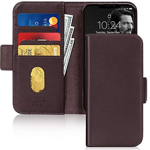 Fyy - Custodia per iPhone 12/12 Pro, in vera pelle, con blocco RFID, custodia protettiva antiurto con supporto per carte di credito, per Apple iPhone 12/12 Pro 6,1 pollici (2020), colore: Marrone