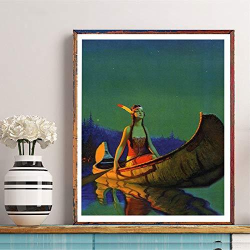 Indische Schönheit Leinwand Poster antike Wandkunst Bild Indien ändern Kunst Hauptdekoration,Rahmenlose Malerei-60X80cm
