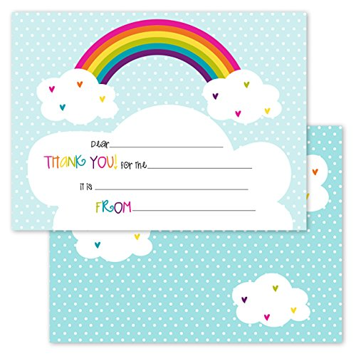 Rainbows and Hearts Kids Thank You Note Card Pack - Set of 20 Fill in The Blank Cards with envelopes