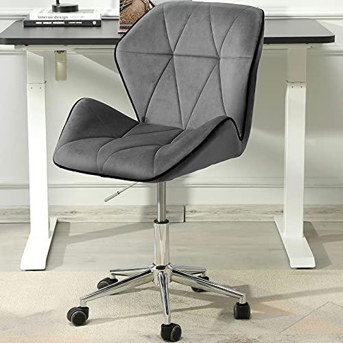 Dictac Armless Velvet Desk Chair