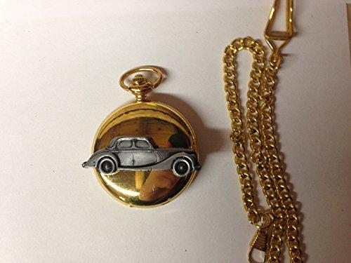 Riley RM ref210 auto stemma in peltro effetto lucido, colore: oro su una custodia regalo orologio da taschino al quarzo, made in sheffield