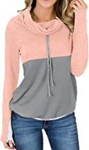 Aniywn Drawstring Pullover for Women Loose Casual Color Block Long Sleeve Sweatshirt Ladies High Neck Pullover Hooded