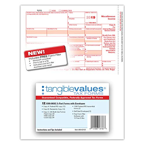 1099 Misc Tax Forms 2019 - Tangible Values 5-Part Kit with Envelopes - Software Download Included, 12 Pack Photo #7