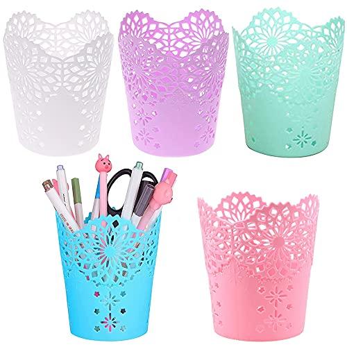 5 Piezas Portalápices de Plástico, Soporte para Pinceles de Maquillaje, Vaso de Plástico para Lápices, Plastico Redondo Portabolígrafos para Almacenar Lápiz, Regla, Pincel de Maquillaje (5 Colores)