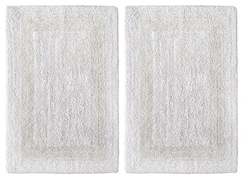 Cotton Craft 2 Piece Reversible Step Out Bath Mat Rug Set 17x24 White, 100% Pure Cotton, Super Soft, Plush & Absorbent, Hand Tufted Heavy Weight Construction, Full Reversible, Rug Pad Recommended