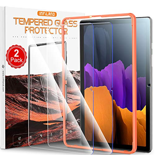 INFILAND [2 Stück für Samsung Galaxy Tab A7 Panzerglas,Panzerglas Schutzfolie für Galaxy Tab A7 10.4'' 2020, [Anti-Blaulicht][Kratzresistenter] Displayschutzfolie(Enthält Montagerahmen)