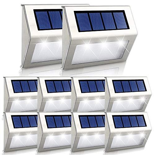 Luces Solares LED exterior Jardín Onshida, Lámparas solares impermeable Ip44, amino de Iluminación, 3 LEDs ilumina para Jardín, Escaleras, Patio, etc. (10 pack)