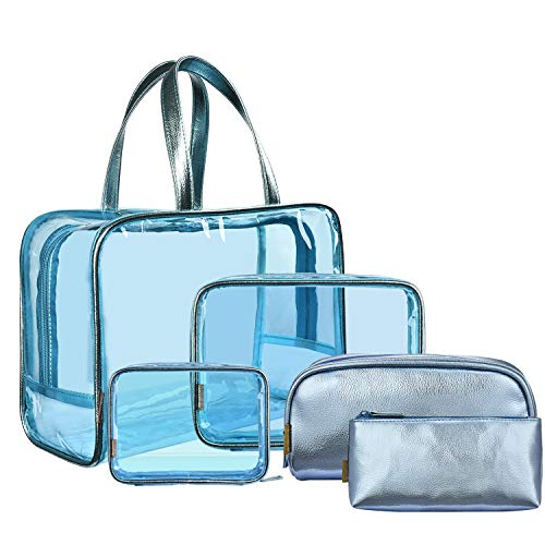 NiceEbag 5 in 1 Travel Makeup Bag Clear Cosmetic Bags Set Leaterh Make Up Pouch Transparent Toiletry Bag for Women Girls, Blue