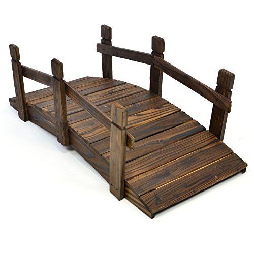 Nexos kleine Holzbrücke Teichbrücke Teich Garten Holz Deko Brücke mit Geländer braun - 2