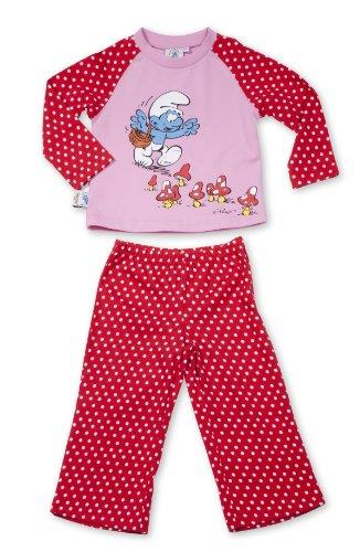 Die Schlümpfe Kinderschlafanzug/Schlafanzug/ Pyjama - Gr. 110 / 116 - Lof of Dots