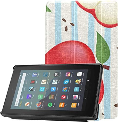 Funda Kindle Case Cover Different Cute Apple Slices Funda Kindle Fire de 7 Pulgadas 2019 para Tableta Fire 7 (novena generación, versión 2019) Ligera con Reposo automático/activación