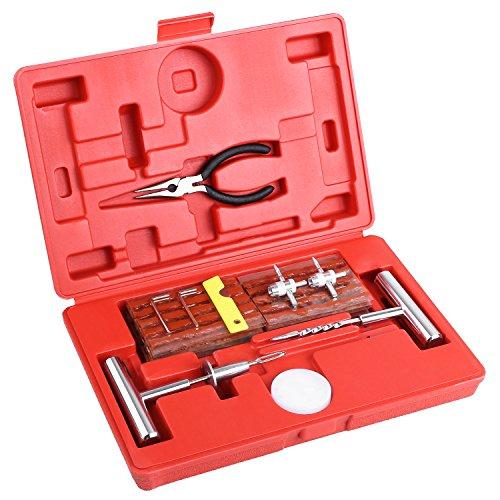 MVPower 60pcs Kit de Reparación de Neumáticos, Kit de Herramientas para Reparar Pinchazos en Neumaticos con Maleta Rojo, Kit Repara Pinchazos con Autos, Motos, Tractores, Camiones