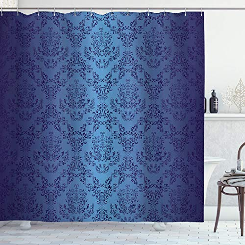 Ambesonne Navy Blue Shower Curtain, Antique Baroque Floral Swirling Patterns Victorian Vintage Retro Style, Cloth Fabric Bathroom Decor Set with Hooks, 70' Long, Dark Blue