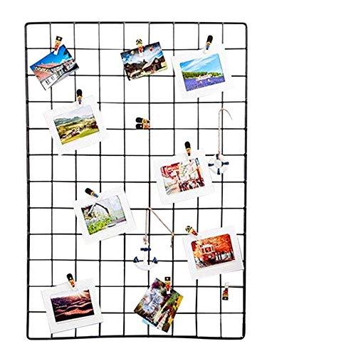 ShouYu DIY Grid Panel Foto Wand,Ins Mesh Wand,Multifunktion Gitterwand Deko,Memo Brett Organisator Regale (65×45cm,Schwarz)