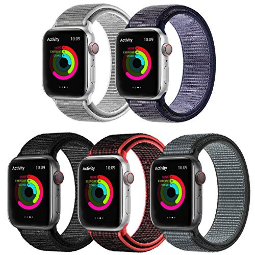 KONGAO Compatible for Apple Watch Band 38MM 40MM 42MM 44MM, Lightweight Breathable Soft Nylon Replacement Strap Sport Band Compatible for Apple Watch iwatch Series 5 4 3 2 1