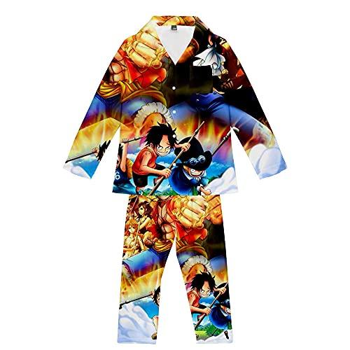 Schlafanzüge Gedruckte Zweiteilige Herren Anime One Piece Langarm Weiche Nachtwäsche Atmungsaktive Unisex Oversize Farbmischung L.