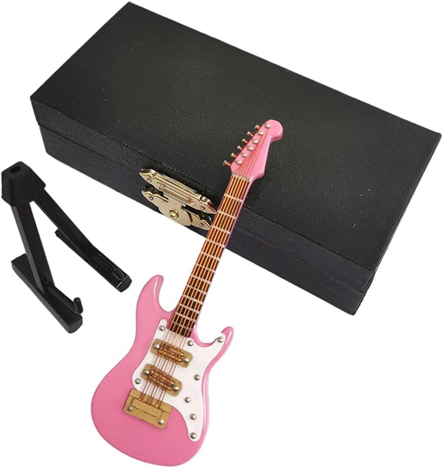 Sharplace Guitarra eléctrica de madera, modelo de 10 cm, colección de adornos con soporte y caja, regalos de cumpleaños - Rosado