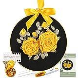 Caydo Kit de inicio de bordado con patrón e instrucciones , cinta de seda 3D bordada diseño de rosas Kit de punto de cruz bordado para principiantes, bricolaje, decoración del hogar