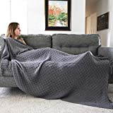 Graced Soft Luxuries Oversized Throw Blanket Woven Soft for Sofa Couch Decorative Knitted Fringe Blanket Cobijas (Charcoal, Extra Large 60' x 80')