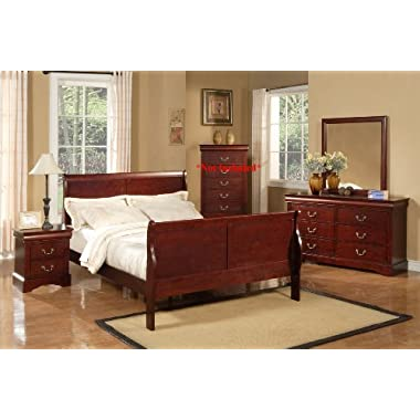 Alpine Furniture Louis Philippe II Sleigh Bed, King Size