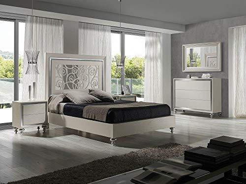 Review Modern White Finish Ornate Carved Headboard King Bedroom Set 3Pcs Soflex Alba