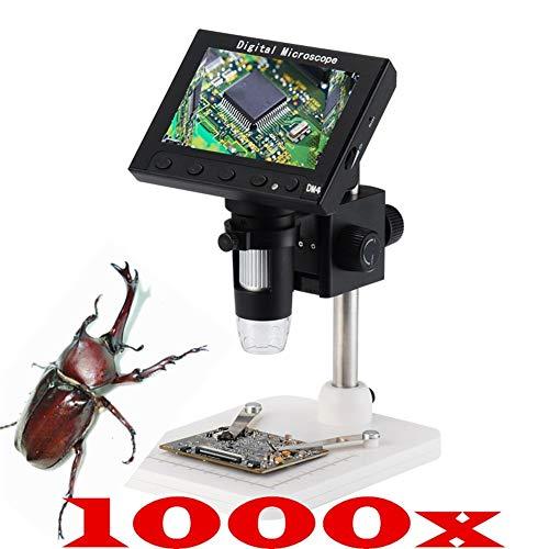XIWAN LCD-Digital-Mikroskop, 1000X digitales Mikroskop elektronisches Videomikroskop 4,3-Zoll-HD-LCD-Lötung Mikroskop Telefonreparatur Lupe 8 Einstellbare LED-Licht Videokamera Mikroskop