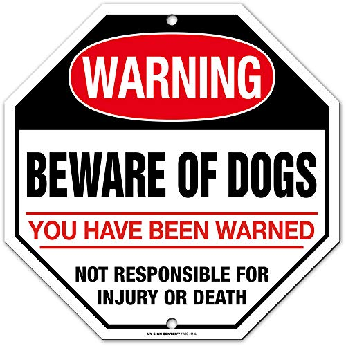 """Warning Beware of Dog Sign Not Responsible for Injury, Octagon Shaped, 11"""" x 11"""" Industrial Grade Aluminum, Easy Mounting, Rust-Free/Fade Resistance, Indoor/Outdoor, USA Made by MY SIGN CENTER"""