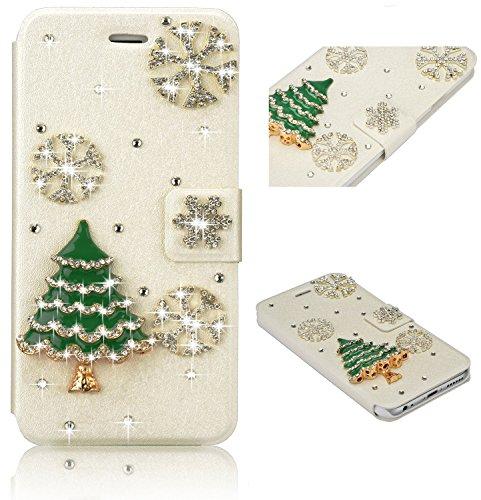 Xifanzi Funda de Piel sintética con Tapa para Samsung Galaxy S4, diseño de árbol de Navidad con Copos de Nieve, Compatible con Samsung Galaxy S5 (Fabricado en Piel. Piel sintética TPU)