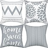 Gusgopo Throw Pillow Covers 18 x 18 Set of 4, Geometry Outdoor Square Pillow Cushion Cases, Modern Decorative Pillow Covers for Couch Sofa Bedroom Car, Grey
