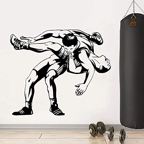 Wrestling wall decals fitness center home decoration fighting sports vinyl wall stickers gym decoration 63X52cm