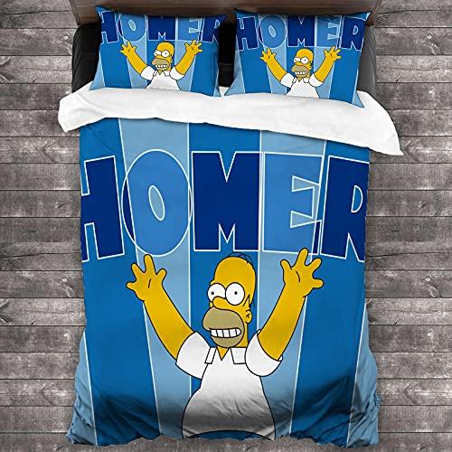THTSSRC The Simpsons - Juego de funda nórdica y funda de almohada (100% microfibra, tamaño completo, 1 funda nórdica + 2 fundas de almohada) (J1,135 x 200 cm + 50 x 75 cm x 2)