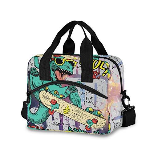 Bolsa de almuerzo con diseño de dinosaurio para mujeres y hombres, bolsa de almuerzo aislada con correa de hombro desmontable y asa de transporte, bolsa reutilizable para el trabajo, escuela, picnic