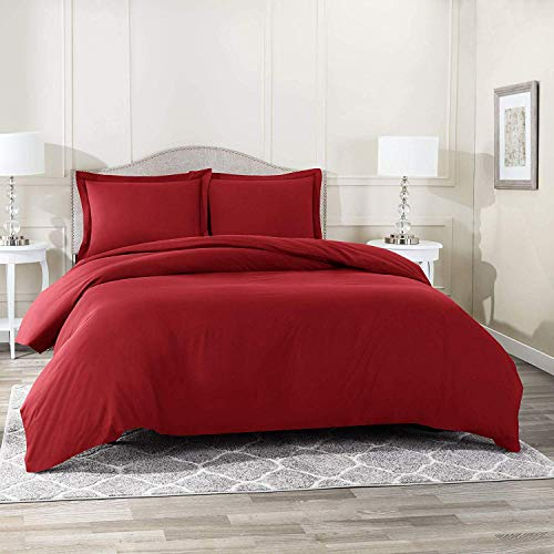 Rohi Luxurious Duvet Cover Set 100% Cotton 200 Thread Count Bedding - Red, King
