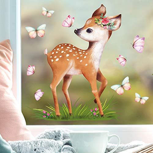 Wandtattoo Loft Fensterbild Frühling Ostern wiederverwendbar Fensteraufkleber Kinderzimmer / 2. Rehkitz Schmetterlinge (1133) / 1. DIN A4 Bogen