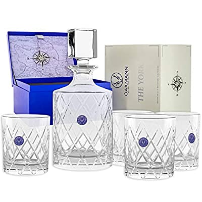 Premium Whiskey Decanter and Glass Set Hand Cut Crystal Large 32oz Lead Free Decanters 12oz Old Fashioned Glasses Gift Box for Scotch Whisky Bourbon Rum Gin Mini Bar Alcohol Dispenser - The York Set