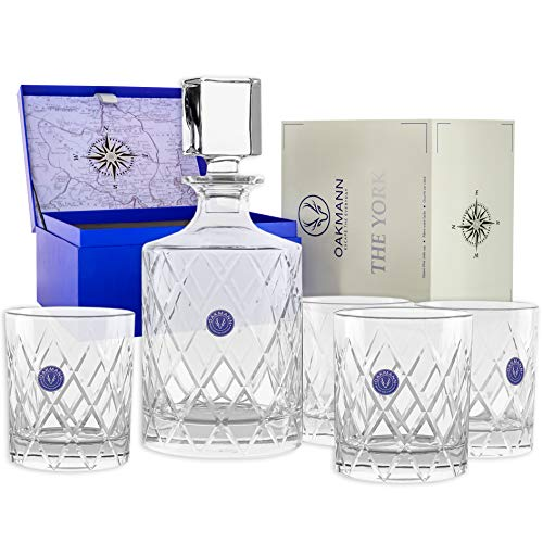Premium Whiskey Decanter and Glass Set Hand Cut Crystal Large 32oz Lead-free Decanters 12oz Old Fashioned Glasses Gift Box for Scotch Whisky Bourbon Rum Gin Mini Bar Alcohol Dispenser - The York Set