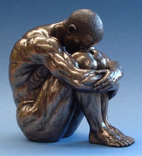 Body Talk Skulptur Akt - Mann, sitzend (L)