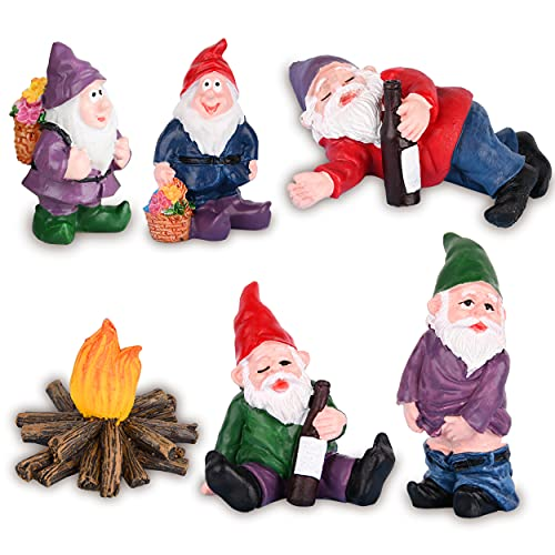 VAINECHAY Garden Ornaments Outdoor Decoration Miniatures Fairy Gardens Ornament Accessories Miniature Home Decor Gardening Statue Gnome Figurine Resin Funny Gnomes Figurines Outdoors Statues Gift