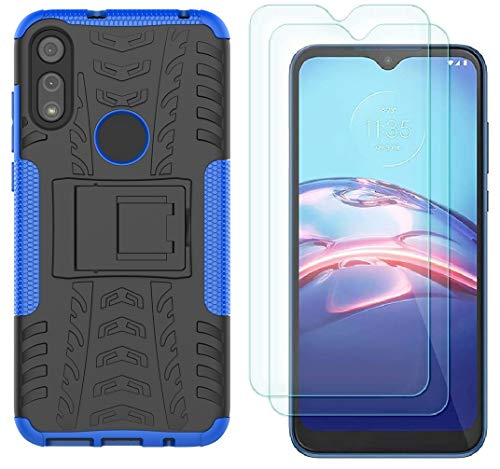 Moto E Phone Case, Motorola e Case with HD Screen Protector, Yiakeng Shockproof Silicone Protective with Kickstand Hard Phone Cover for Moto E (2020)...