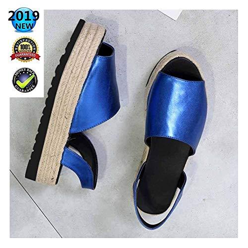 sandalen espadrilles Peep Toe High Wedges plateau wighak dames zomer elegant enkelriem gesp wigsandalen plat leer comfortabele casual schoenen 3 cm hoge hak blauw