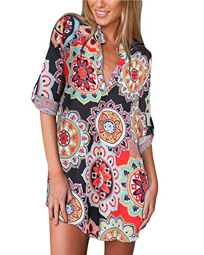 ZANZEA Damen V-Ausschnitt Blumen Langarm Bluse Chiffon Oversize T-Shirt Lose Tops 03-blumen3 EU 44/US 12