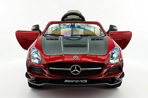 2021 SLS AMG 12V Powered Kids Ride On Car, Leather Seat, LED Lights, Parental Remote, Built-in LCD Touch Screen TV Dashboard, Stroller Seatbelt… (Cherry Red)