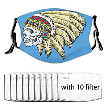 1Mask with 10pc Filters,Dead Skull with Feathers Tattoo Folk Aztec Pattern Mouth Face Mask Anti Breathable Filter Dust Absorb Sweat Washable Reusable Masks for Adult