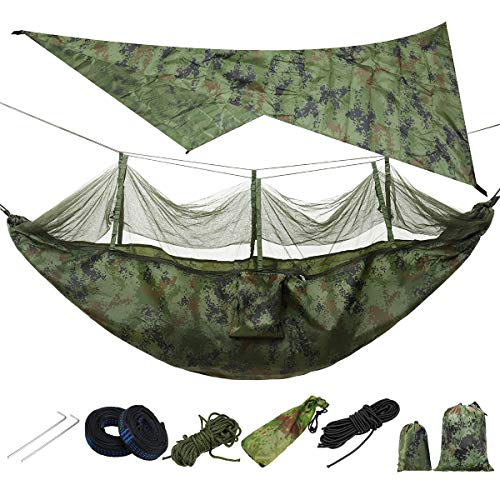 HamacasHamaca ligera y portátil de camping y toldo para tienda de campaña, lona impermeable, mosquitera, hamaca de carga de 300 KGCamping Hamacas (tamaño: único; color: 6)