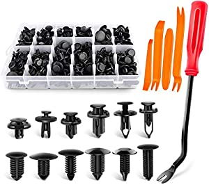 UNIVERSAL FIT KIT - Great Assortment Push Retainer Kit with 12 popular size, fitting for door trim, radiator shield yoke, fender, bumper and splash shield retainers replacement for Ford, GM, Chrysler, Toyota, Honda and more. SAVE TIME AND MONEY - You...