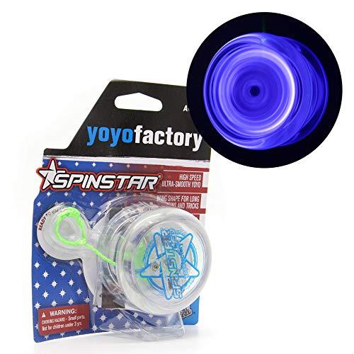 YoyoFactory SPINSTAR LED Yo-yo - BLAU (Leuchtendes Yoyo, Ideal für Anfänger, Schnur und Batterien Enthalten, Moderne Leistung YoYo, Freistil Yoyoing Tricks)