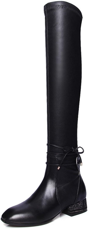 Nio Sju äkta läder, kvinnors fyrkantiga tå, tå, tå, klackklack upp stil, handgjord över Knee stövlar.  till lägsta pris