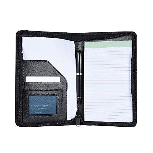 Aibecy Multifunktionale Schreibmappe Ordner, A5 PU-Leder Business Portfolio, Dokumententasche Organizer mit Visitenkartenhalter Memo Notizblock