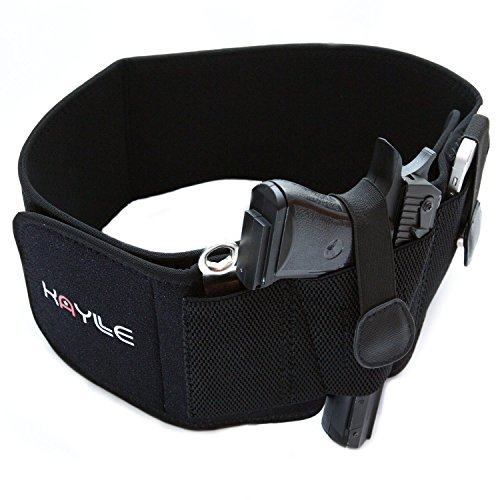 KAYLLE Belly Band Concealed Carry Holster - Neoprene Elastic Inside Waistband Gun Holster for Women Men - Fits Glock 17 19 43 30s 23 26 22 23 9mm Ruger Sig Sauer Bodyguard Springfield S&W M&P (Left)