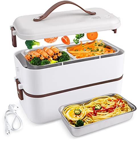 ShiniUni Elektrische Lunchbox Speisenwärmer & Mini Dampfgarer, 230V 300W 3 IN 1 Lunchbox Elektrisch Edelstahl Geschirr für Büro & Unterwegs